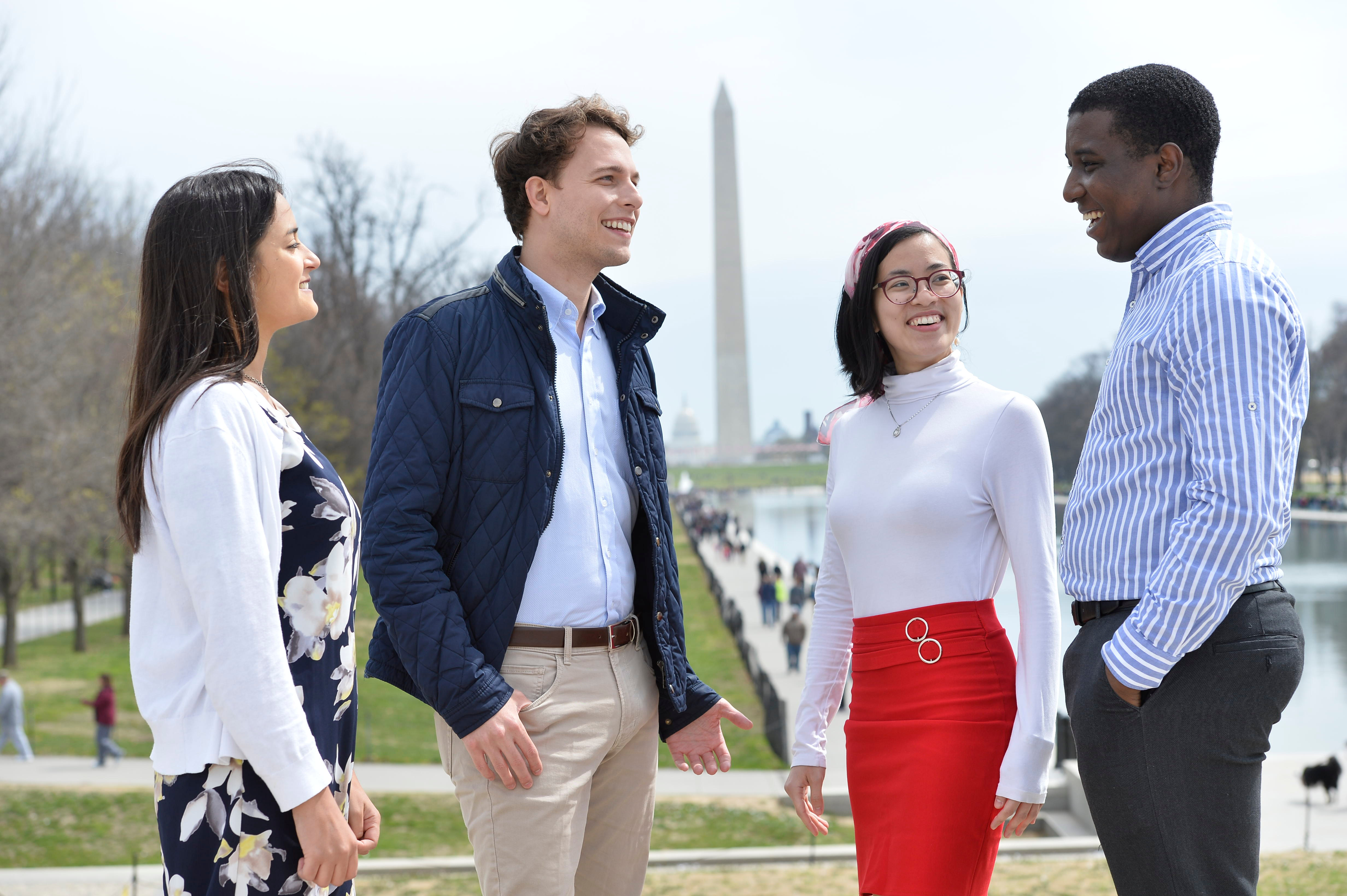 SAIS Students at the reflecting pool