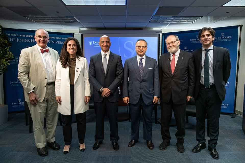 HE Dr. Anwar Gargash, HE Lana Nusseibeh, HE Yousef Al- Otaiba, JHU SAIS Interim Dean Kent Calder, Eliot A. Cohen