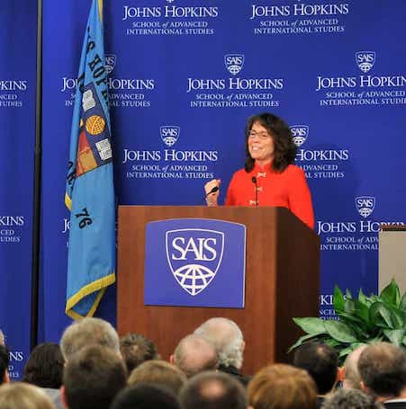 Johns Hopkins SAIS guest speaker at a podium