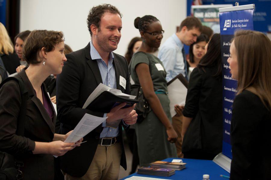 Johns Hopkins SAIS students at a career fair