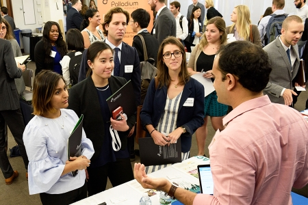 Johns Hopkins SAIS students at a career fair