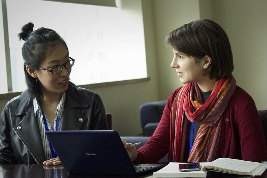 Johns Hopkins SAIS students talking