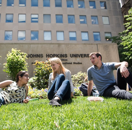 Johns Hopkins SAIS students sitting on the front lawn of the Nitze Building