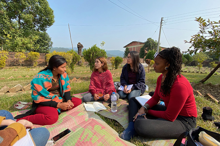 Students discuss gender based violence prevention in Nepal.