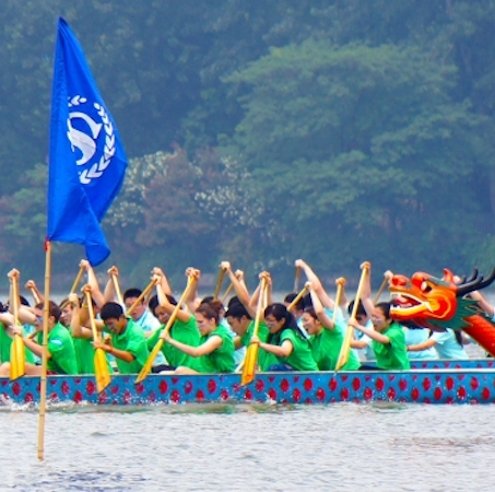 Dragon boat race in Nanjing, China