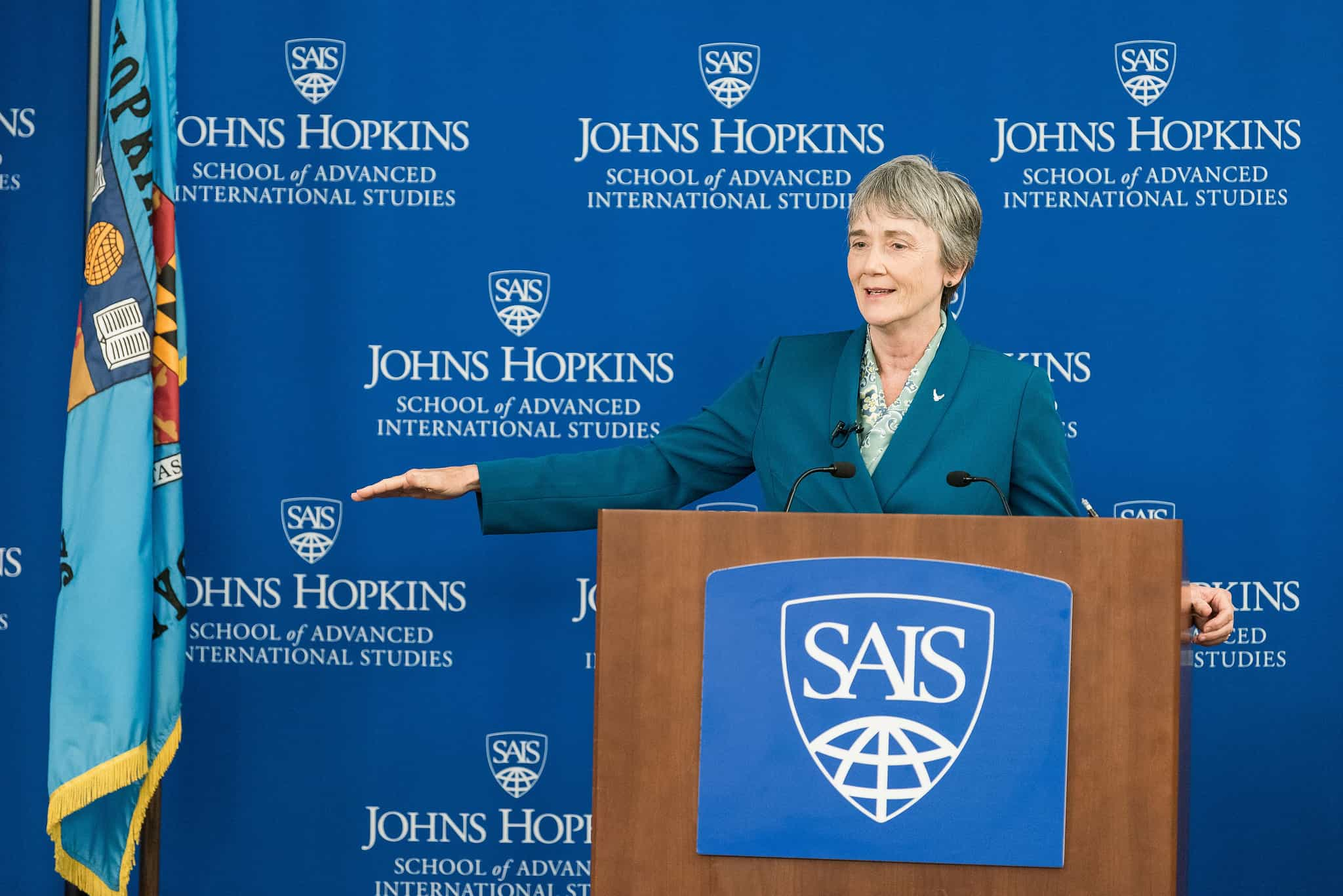 Heather Wilson, Secretary of the US Air Force, speaking at Johns Hopkins SAIS