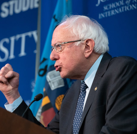 Senator Bernie Sanders speaking at Johns Hopkins SAIS