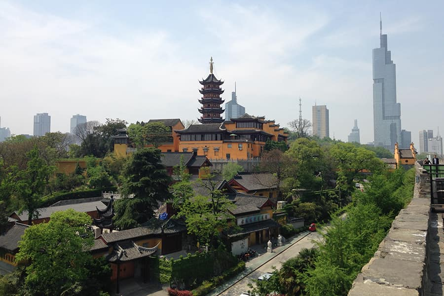 Temple and skyline