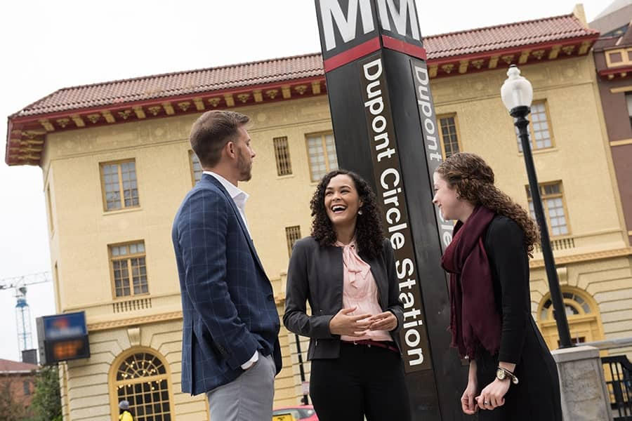 Johns Hopkins SAIS students gather at Dupont Circle