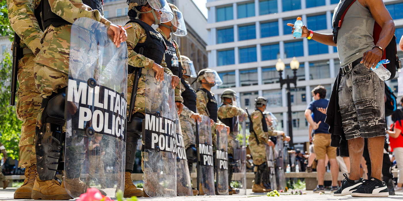 Military police at a protest in Washington DC