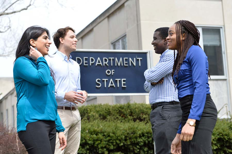 Johns Hopkins SAIS students in front of US State Department