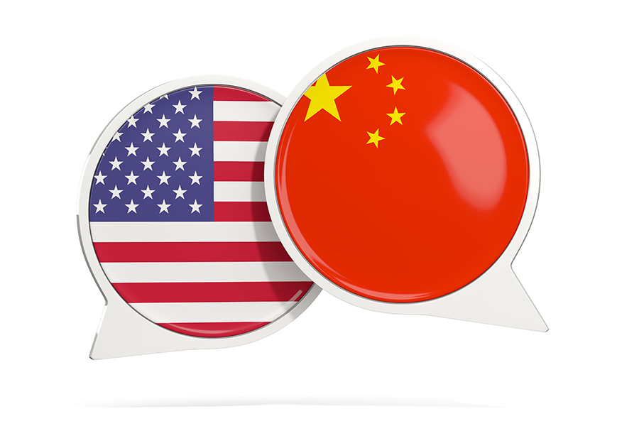 US-China flags in the shape of word bubbles