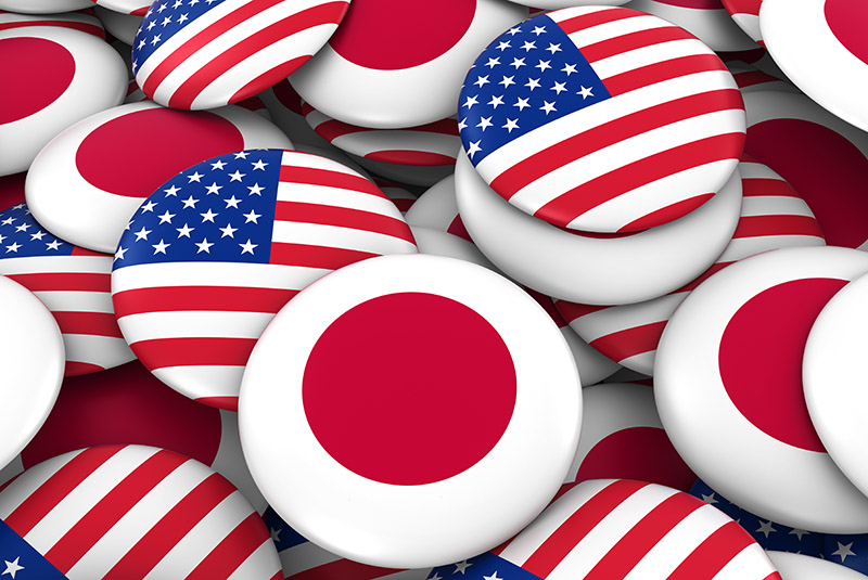 US-Japan flags in the shape of buttons