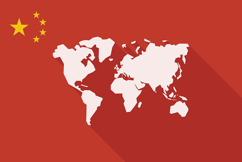 Chinese flag on a world map