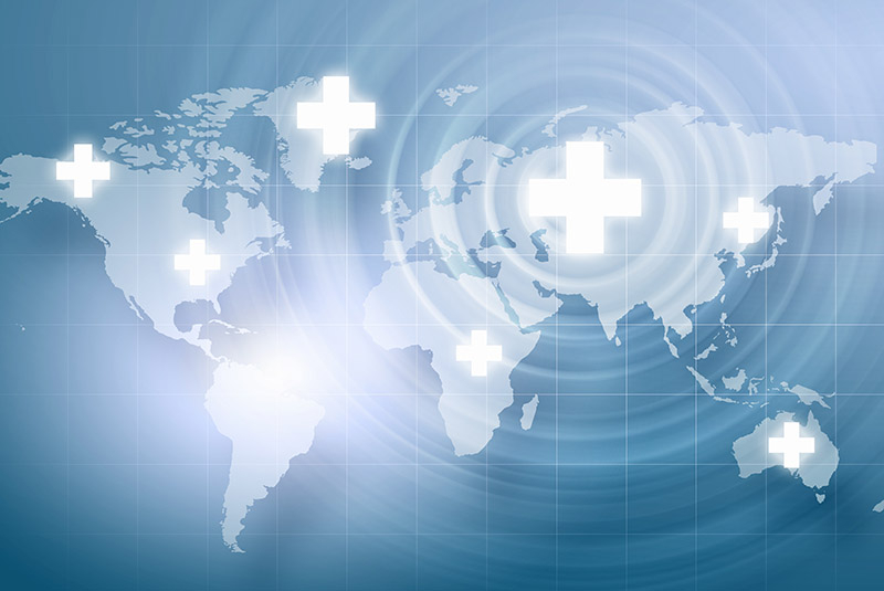map of world with medical symbol