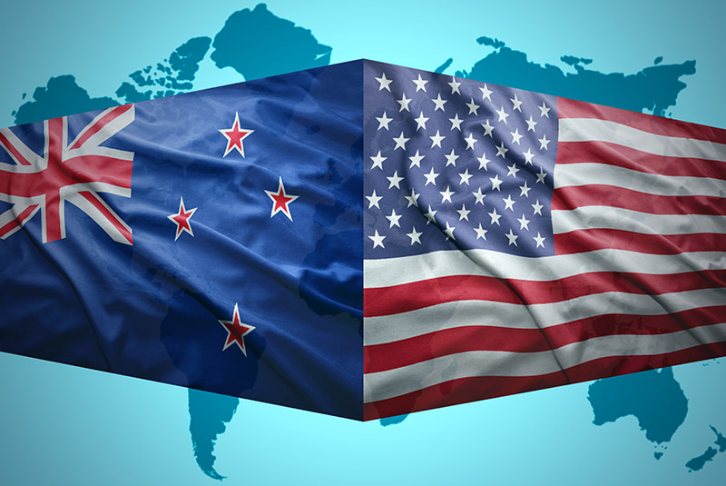 US-New Zealand flags