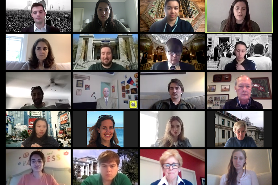 a screenshot of a zoom call with students and faculty
